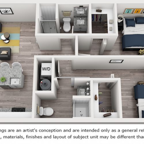 Zeta 2 bedrooms 2 bathrooms floor plan