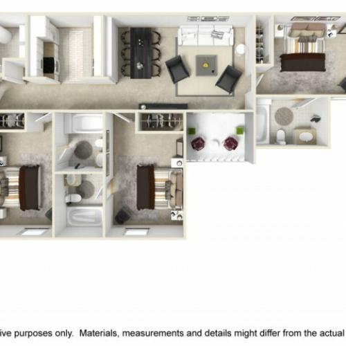 Traditional 3 bedrooms 3 bathrooms floor plan