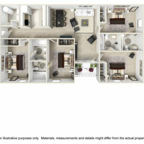 Champion 4 bedrooms 4 bathrooms floor plan