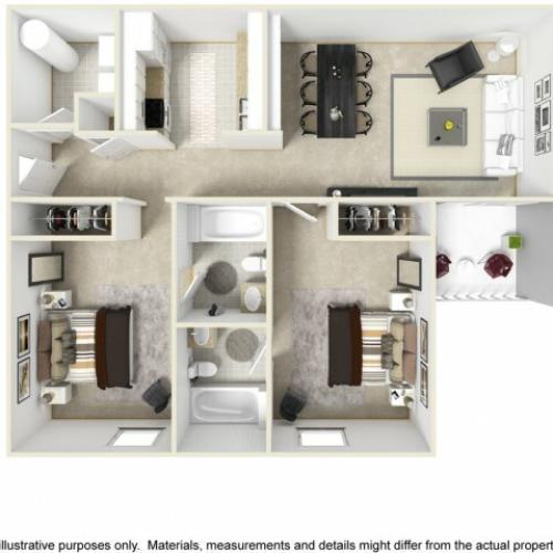 Scholar 2 bedrooms 2 bathrooms floor plan