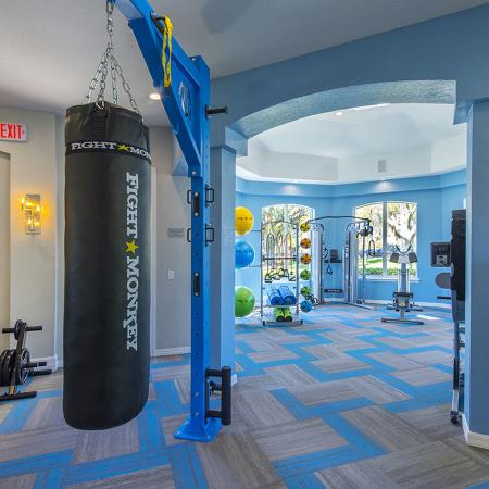 Weight room with weights, punching bag.