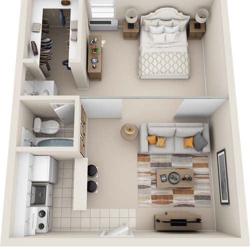 Palm 1 bedroom 1 bathroom floor plan