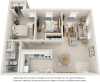 Sycamore 2 bedrooms 1 bathroom floor plan
