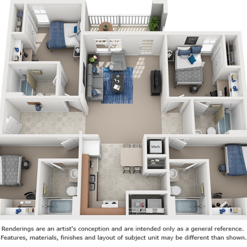 Diamond floor plan with 4 bedrooms and 4 bathrooms