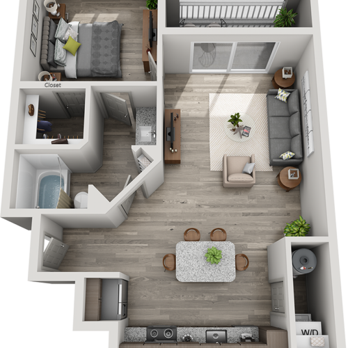 Derby 1 bedroom and 1 bathroom floor plan