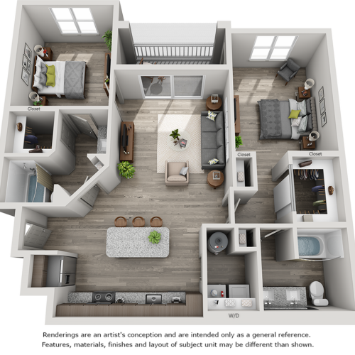Belmont 2 bedrooms and 2 bathrooms floor plan