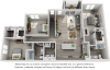 Del Mar 3 bedrooms and 2 bathrooms floor plan