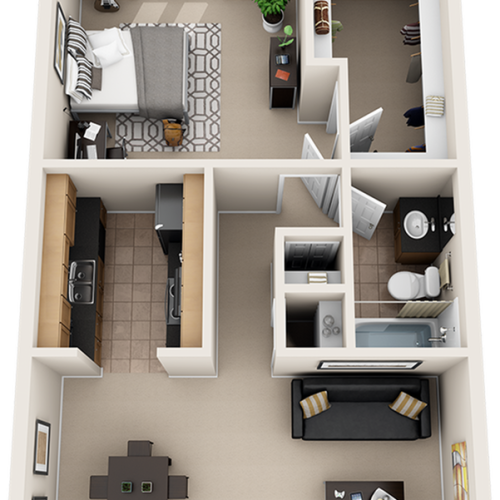 Orion 1 bedroom 1 bathroom floor plan with wood style floors