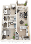 Waterton 2 bedrooms 2 bathrooms floor plan