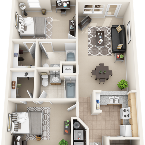 Waterton 2 bedrooms 2 bathrooms floor plan with bay window