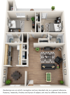 Arcadia 2 bedrooms 2 bathrooms floor plan.