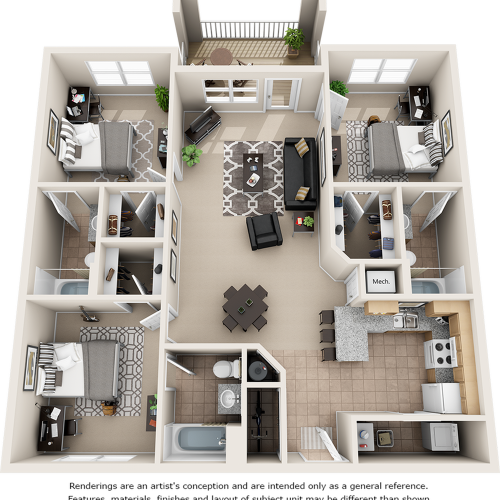 Constance 3 bedrooms 3 bathrooms floor plan.