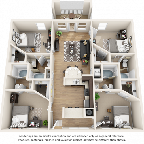 Buchanan 4 bedrooms 4 bathrooms floor plan.