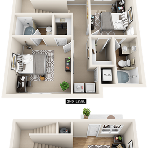 Penthouse 4 bedrooms 4 bathrooms floor plan.