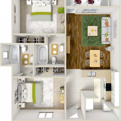 Adobe 2 bedrooms 2 bathrooms floor plan