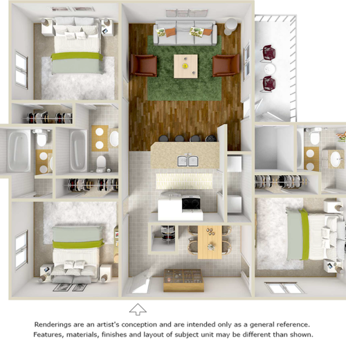 Apache 3 bedrooms 3 bathrooms floor plan