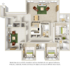 Penthouse 3 bedrooms 4 bathrooms floor plan