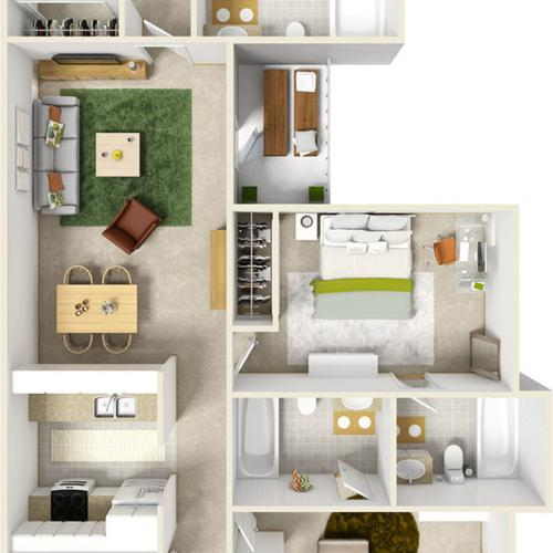 The Buccaneer Premium Suite 3 bedrooms 3 bathrooms floor plan with quartz countertops