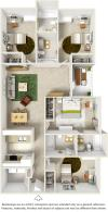 The Bulls Premium  4 bedrooms 4 bathrooms floor plan Suite with quartz countertops