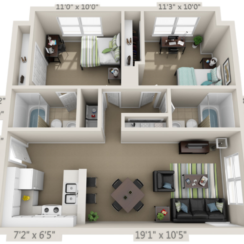 111a  2 Bedroom 2 Bathroom Floor Plan