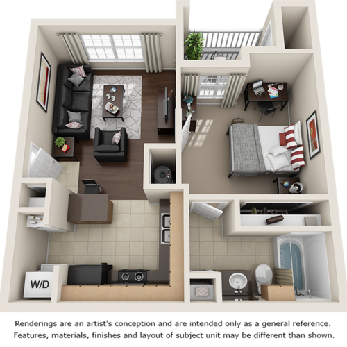 Allman 1 bedroom 1 bathroom floor plan
