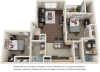 Betts 2 bedrooms 2 bathrooms floor plan