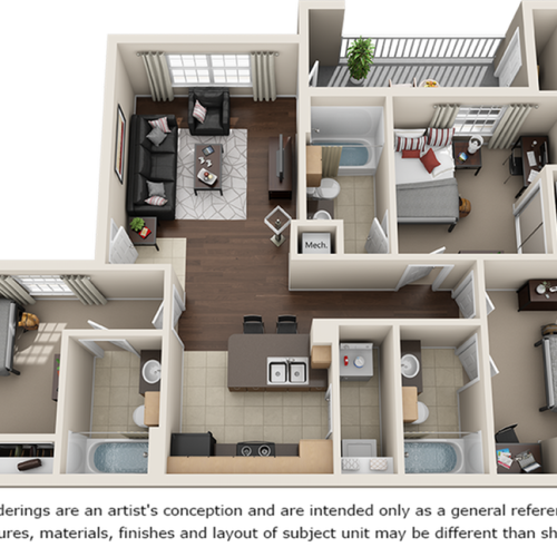 Oteill 3 bedrooms 3 bathrooms floor plan