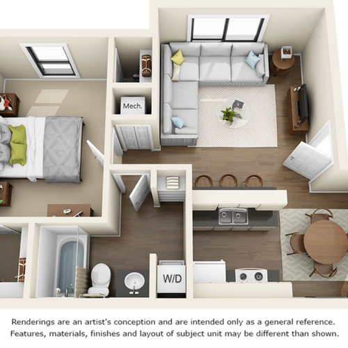 Dogwood 1 bedroom 1 bathroom floor plan with premium finishes and quartz