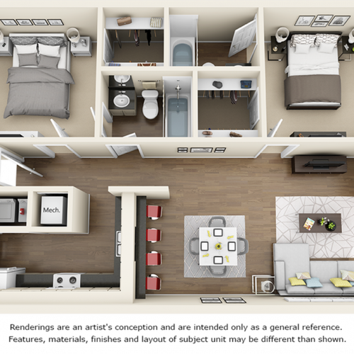 Redwood 2 bedrooms 2 bathrooms floor plan with premium finishes and quartz countertops