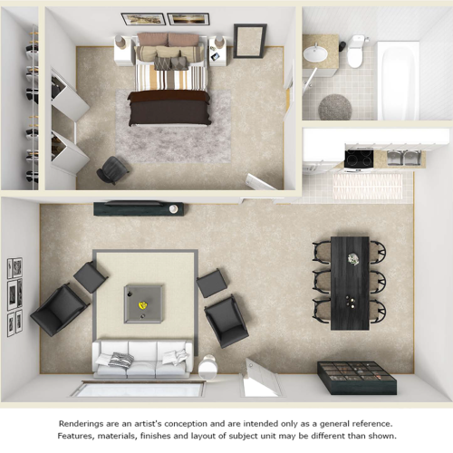 Tranquility 1 bedroom 1 bathroom floor plan