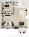 Serenity 1 bedroom 1 bathroom floor plan with premium finishes
