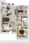 Harmony 2 bedrooms 1 bathroom floor plan with premium finishes