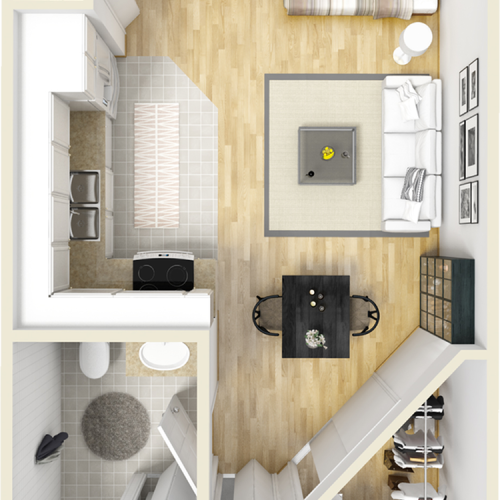 Bedford 1 bathroom studio floor plan