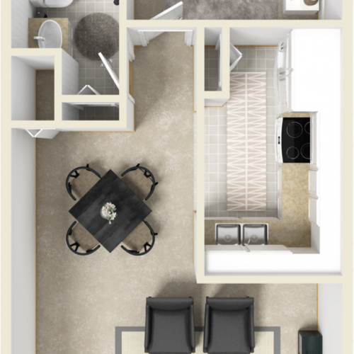 Sutton 1 bedroom 1 bathroom floor plan