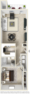 Chelsea 1 bedroom 1 bathroom floor plan