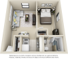 The Sledd 1 bedroom 1 bathroom floor plan
