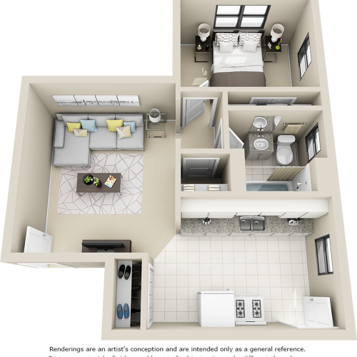 The Marston 1 bedroom 1 bathroom floor plan