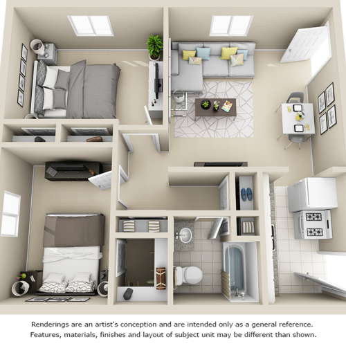 College View 2 bedrooms 1 bathroom floor plan