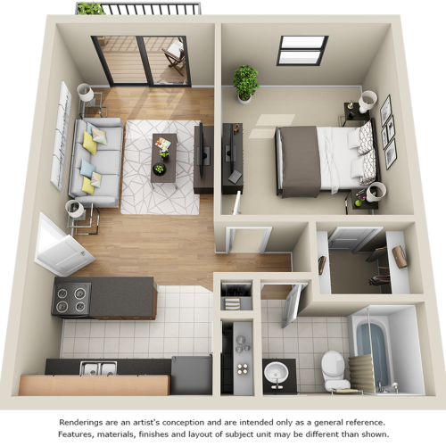 Parkside 1 bedroom 1 bathroom floor plan