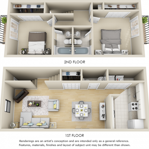 Parkside 2 bedrooms 2.5 bathrooms floor plan