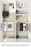 Senior 1 bedroom 1 bathroom floor plan