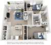 Sapphire floor plan with 2 bedrooms and 2 bathrooms