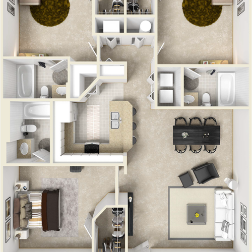 Smithsonian 3 bedrooms 3 bathrooms floor plan.
