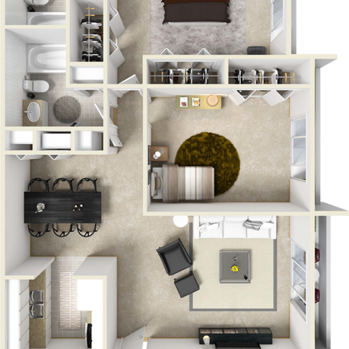 The Iris 2 bedrooms 2 bathrooms floor plan with premium finishes and wood styles floor