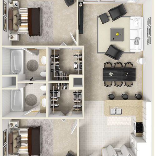 Haven 2 bedrooms 2 bathrooms floor plan