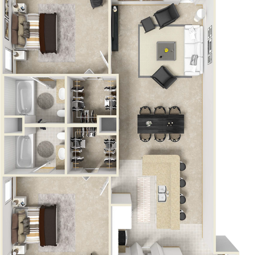 Reserve 2 bedrooms 2 bathrooms floor plan