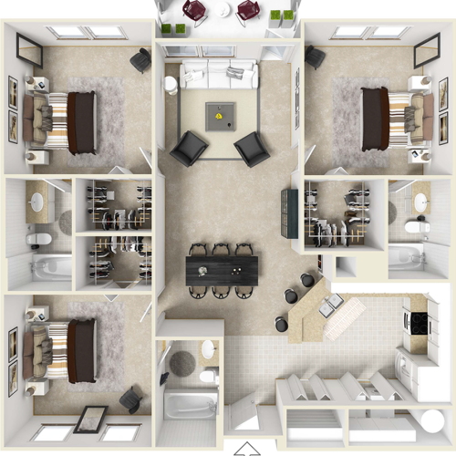 Retreat 3 bedrooms 3 bathrooms floor plan