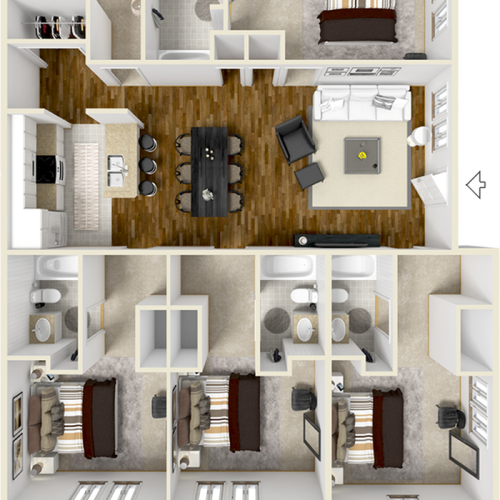 The Eagle 4 bedrooms 4 bathrooms floor plan