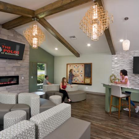 Upgraded clubhouse sitting area with community kitchen area.