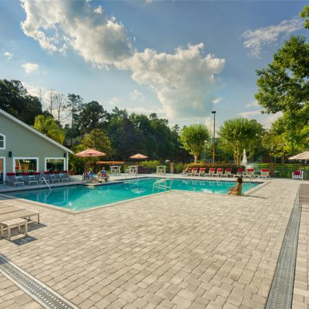 Sundeck area of sparkling pool near main clubhouse.